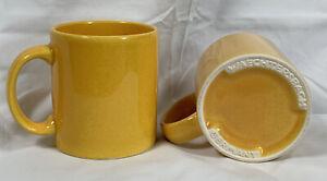 2 Waechtersbach Ochre Yellow Ceramic Coffee Mugs Germany 12 oz