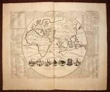 GLOBE TERRESTRE CARTE ANCIENNE GEOGRAPHIQUE MAPPEMONDE Gravure de Chatelain 1708