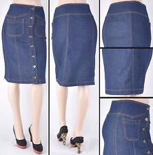 NWT Stretch Denim Dk.Indigo Knee Length Pencil Skirt,size S to 3XL - #SG-76110