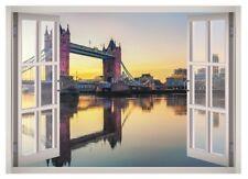 Tower Bridge London Window 3D Wall Decal Art Mural Home Decor Canvas Vinyl W172