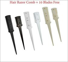 Hair Cutter Sharper Thinning Layer Razor Comb Trimmer Single Double + 10 Blades