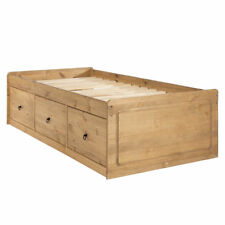 Corona Antique Wax Pine Storage Captain's style bed - solid pine