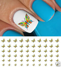Colorful Butterfly Nail Art Waterslide Decals - Salon Quality