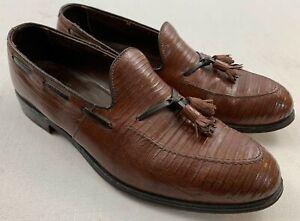 footjoy classics vintage lizard skin leather tassel kiltie loafers shoes 10 d