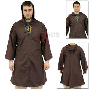 Renegade Thief's Hooded Robe Tunic Medieval Shirt Ren-Fair Brown Long Sleeve