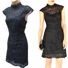 Karen Millen Black Lace Applique Halterneck Cocktail Wedding Elite Dress 8 UK 36