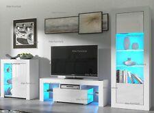 Living Room Set Matt Body & Gloss Doors TV Unit Display Cupboard FREE LED