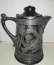 Antique Silver Plate Pitcher - 1882 -Rare -  Benjamin J Mayo Silversmith Newark