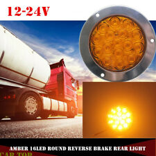 1X 16LED Amber Round Reverse Brake Turn Signal Rear Truck Tail Light Trailer RV