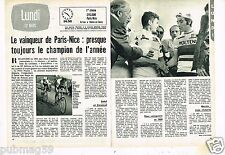 Coupure de presse Clipping 1973 (2 pages) Paris-Nice Eddy Merckx Poulidor