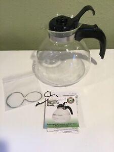 12c~Schott Duran Germany~Glass StoveTop Whistling Tea Kettle~gas/electric~trivet