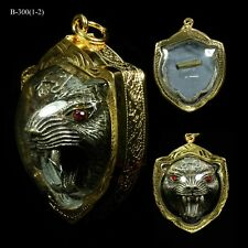 big Tiger Face LP Kalong Power Invulnerable Thai Buddha Amulet with case 001