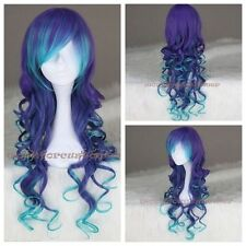 Women Long Curly Synthetic Cosplay Costume Wig Anime Lolita Wig Blue Mix Purple