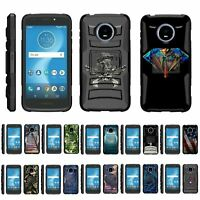 For Motorola Moto E5 Cruise / E5 Play Rugged Armor Hybrid Holster Belt Clip Case