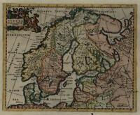 Scandinavia Norway Sweden Finland Livonia 1711 decorative Cluver map hand color
