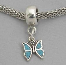 Inlaid TINY TURQUOISE BUTTERFLY Sterling Silver European Dangle Bead Charm