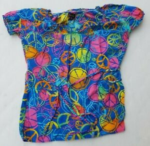 Womens Scrub Top Peachers Size XS Peace Symbols