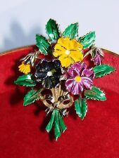 Vintage exquisito Esmalte pensamiento Flores/Floral 1960s Broche Pin-firmado