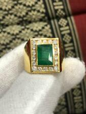 4 CARATS NATURAL EMERALD MENS RING ON SOLID 18KT YELLOW GOLD WITH DIAMONDS