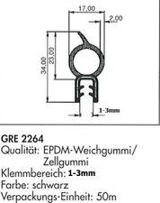 Türdichtung Gummidichtung Türprofil EPDM Kantenschutz 1,0-3,0 mm GRE 2264