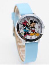 Kids Girls Mickey & Minnie Mouse Wrist Watch Analogue Leather Strap Slim Blue