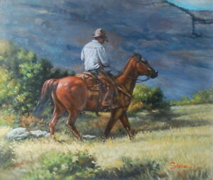 Handpainting Texas Cowboy Oil painting on canvas 20x24 inch