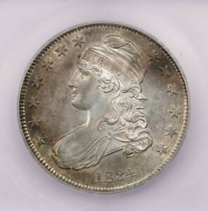 1834 Capped Bust Half Dollar ICG MS62 very flashy with PL look to it