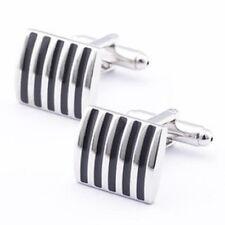 Black Stripe Silver Cuff Links Stylish Mens Cufflinks in gift bag Striped UK
