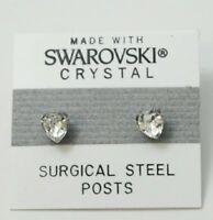 Silver Heart Stud Earrings 8mm Crystal Made with SWAROVSKI ELEMENTS Gift