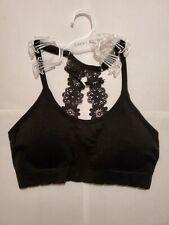 Floral lace Sports Bra Laura Ashley black bralette medium