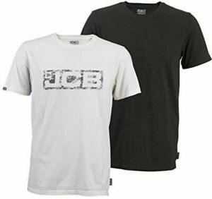 JCB Workwear Twin Pack Short Sleeve T-shirts Marl Grey & White Logo M L XL XXL
