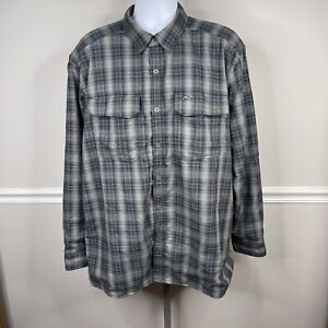 Simms Mens Fishing Insulated Shirt Jacket  Plaid Long Sleeve Lined XL gray