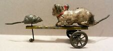 Early German tin windup Cat & Mouse toy late 1800's-very early 1900's