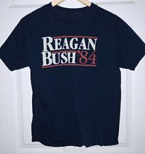 Reagan Bush 84 Blue T Shirt Back to Back World War Champs 100% Cotton Size M