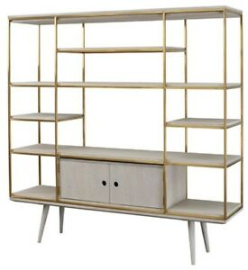 "71"" L Ivone Wall Unit Stainless Steel Frame, Gold Warm Brushed Oak Shelves, Ripp"