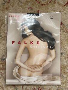 FALKE Germany Designer Tights SHELINA 12 Den Black Shimmer Size IV L Large NEW