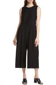 NWT Eileen Fisher Washable Stretch Crepe Cropped Jumper in Black Jumpsuit 2X