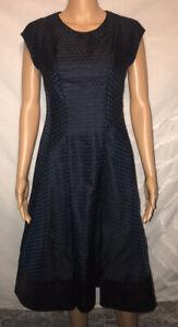 Jil Sander Navy Fit & Flare Black & Blue Geometric 100% Silk Dress Sz 34/2 Italy