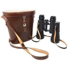 Used Hertel & Reuss Optik Kassel 7x50 Binoculars + Leather Case & Strap -Germany