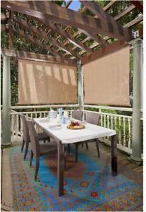 "Coolaroo Exterior Roller Shade, Cordless 80% UV Protection, Almond 48"" X 72"""