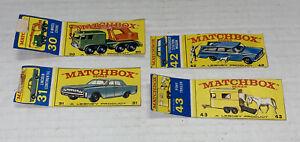 4 LOT Vintage CUT Matchbox BOXES #30,31,42,43 Crane Lincoln Studebaker Trailer