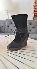 KIBEI black leather wedge ankle boots UK 3 VGC