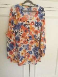 LandsEnd Flowery Cardigan Cotton 28 30 3xl
