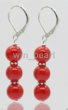 New Handmade Coral Red South Sea Shell Pearl Silver Leverback Earrings