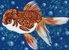 ACEO Original Miniature Painting Orange Oranda Goldfish Pet Art -Carla Smale