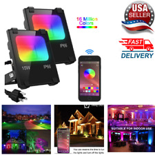 NEW LED Flood Light 100W,Outdoor Color Changing,RGB Bluetooth,Waterproof(2 Pack)