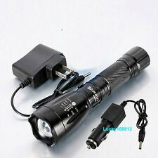 2200 Lumen CREE XM-L T6 LED Flashlight Torch AC&Car Battery Charger 18650 14500