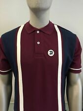 Trojan TR/8183 maroon short sleeve stripe front pique polo shirt size small