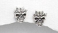 2.07g Solid Sterling Silver Skull Stud Earrings Safety Backs 10mm x8mm