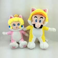 "2X Super Mario Bros 3D World Cat Princess Peach 7"" Mario 9"" Soft Plush Toy Doll"